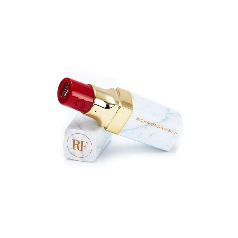Richmond and Finch Lipstick Pink Marble 2600 mAh — външна батерия с USB изход за мобилни устройства (бял) - 1