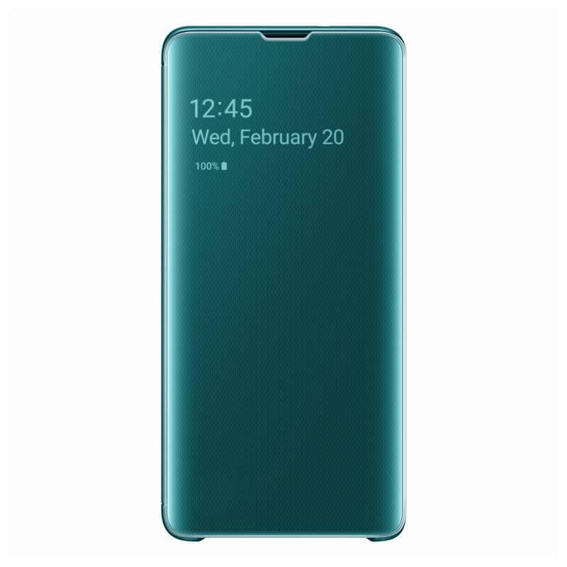 Samsung Clear View Cover EF-ZG973CG — оригинален кейс, през който виждате информация от дисплея за Samsung Galaxy S10 (зелен) - 1