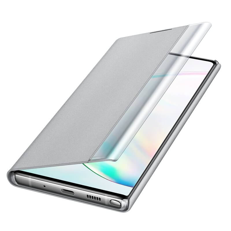 Samsung Clear View Cover EF-ZN975CS — оригинален кейс, през който виждате информация от дисплея за Samsung Galaxy Note 10 Plus (сребрист) - 4