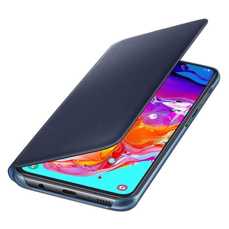 Samsung Flip Wallet Cover EF-WA705PBEGWW — оригинален кожен кейс за Samsung Galaxy A70 (черен) - 1