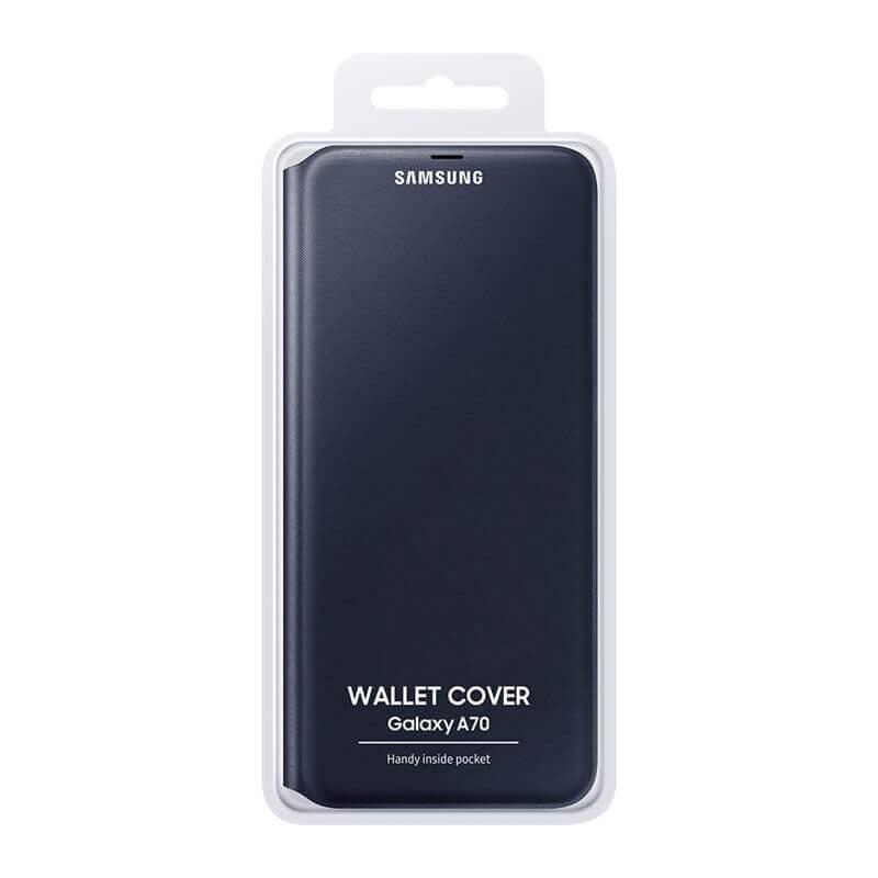 Samsung Flip Wallet Cover EF-WA705PBEGWW — оригинален кожен кейс за Samsung Galaxy A70 (черен) - 4
