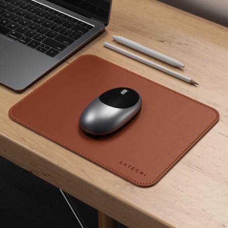 Satechi Eco-Leather Mouse Pad - дизайнерски кожен пад за мишка (тъмнокафяв) - 4