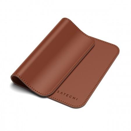 Satechi Eco-Leather Mouse Pad - дизайнерски кожен пад за мишка (тъмнокафяв) - 3