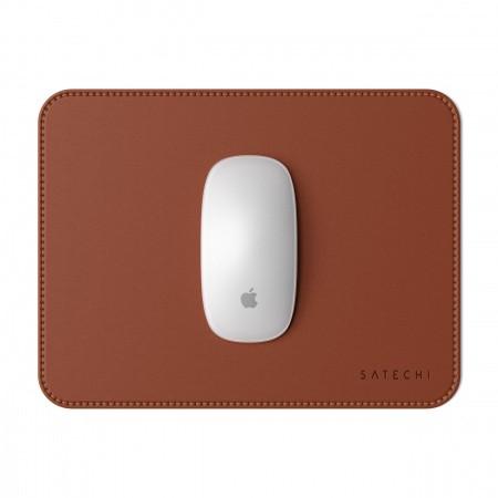 Satechi Eco-Leather Mouse Pad - дизайнерски кожен пад за мишка (тъмнокафяв) - 1
