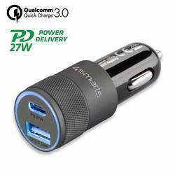 4smarts Car Charger Rapid+ 27W with Quick Charge with PD - зарядно за кола с USB и USB-C изходи с технология за бързо зареждане (черен-тъмносив)