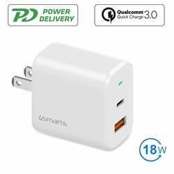 4smarts Travel Charger Set VoltPlug QC/PD 18W With USB-C Data Cable  - захранване за ел. мрежа с USB-A и USB-C изходи, USB-C към USB-C кабел и адаптори за USA и UK стандарт (18W) (бял)