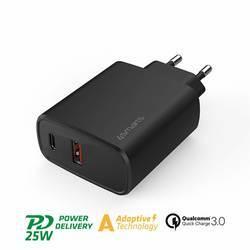 4smarts Wall Charger VoltPlug Adaptive 25W with QC/PD/AFC - захранване за ел. мрежа с USB-A изход и USB-C изход с технология за бързо зареждане (25W) (черен)