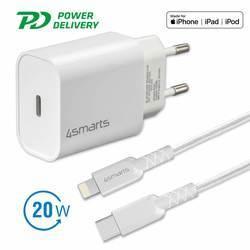 4smarts Wall Charger VoltPlug PD 20W - захранване за ел. мрежа с USB-C изход и Lightning към USB-C кабел за Apple устройства (бял)
