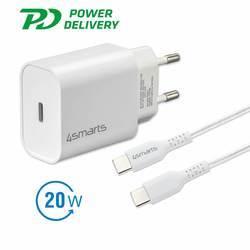 4smarts Wall Charger VoltPlug PD 20W - захранване за ел. мрежа с USB-C изход и USB-C към USB-C кабел (бял)
