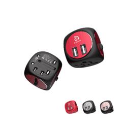 Adam Elements Omnia TA502 Universal Travel Adapter - адаптер за ел. мрежа с преходници за цял свят и два USB-A изход за зареждане (черен-червен)