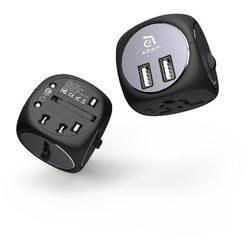 Adam Elements Omnia TA502 Universal Travel Adapter - адаптер за ел. мрежа с преходници за цял свят и два USB-A изход за зареждане (черен-сив)