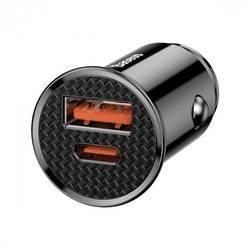 Baseus Dual USB & USB-C QC 3.0 Car Charger 30W (CCYS-A01) - зарядно за кола с USB и USB-C изходи и технология за бързо зареждане (черен)