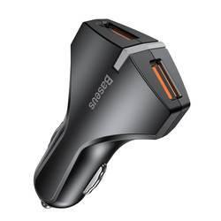 Baseus Small Rocket Car Charger QC3.0 Dual-USB - зарядно за кола с два USB изхода и технология за бързо зареждане (черен)