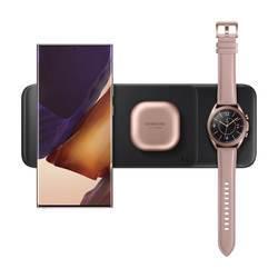 Samsung Wireless Charger Trio EP-P6300 - тройна поставка (пад) с бързо безжично зареждане за Samsung смартфони и Qi съвместими устройства (бял)