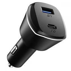 Spigen PC1800 PowerArc 30W ArcStation 2-Port Car Charger - зарядно за кола с технология за бързо зареждане с USB и USB-C изход (черен)