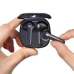 USAMS SD001 TWS Earbuds  - безжични блутут слушалки с безжичен зареждащ кейс (тъмносин)