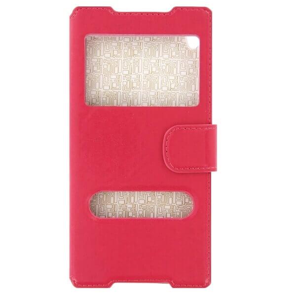 SPARKLE Flip Case — кожен кейс и поставка за Xperia Z5 Premium (розов) - 1