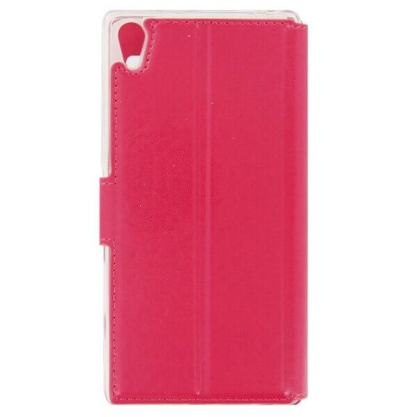 SPARKLE Flip Case — кожен кейс и поставка за Xperia Z5 Premium (розов) - 2