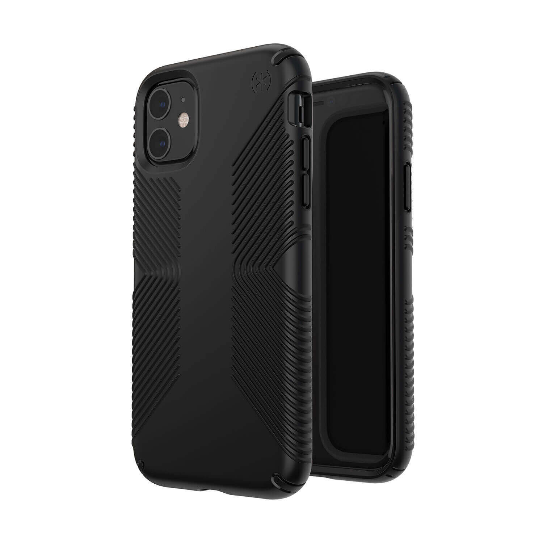 Speck Presidio Grip Case — удароустойчив хибриден кейс за iPhone 11 (черен) - 3