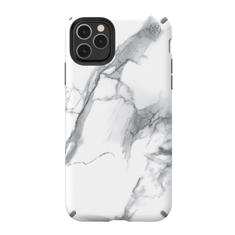 Speck Presidio Inked Case — удароустойчив хибриден кейс за iPhone 11 Pro Max (бял-сив) - 1