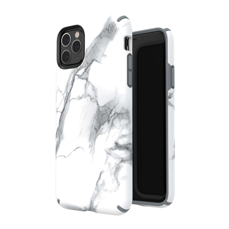 Speck Presidio Inked Case — удароустойчив хибриден кейс за iPhone 11 Pro Max (бял-сив) - 5
