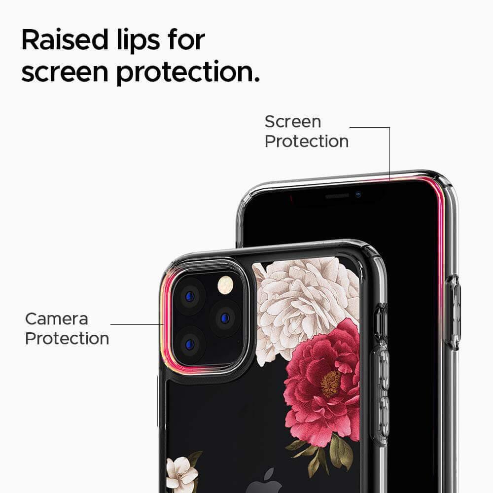 Spigen Ciel Red Floral Case — дизайнерски удароустойчив кейс за iPhone 11 Pro (прозрачен) - 4