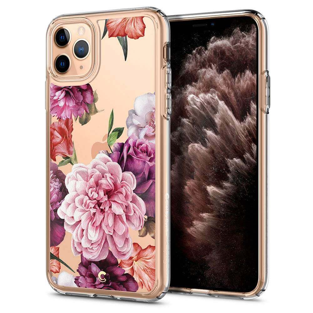 Spigen Ciel Rose Floral Case — дизайнерски удароустойчив кейс за iPhone 11 Pro (прозрачен) - 1