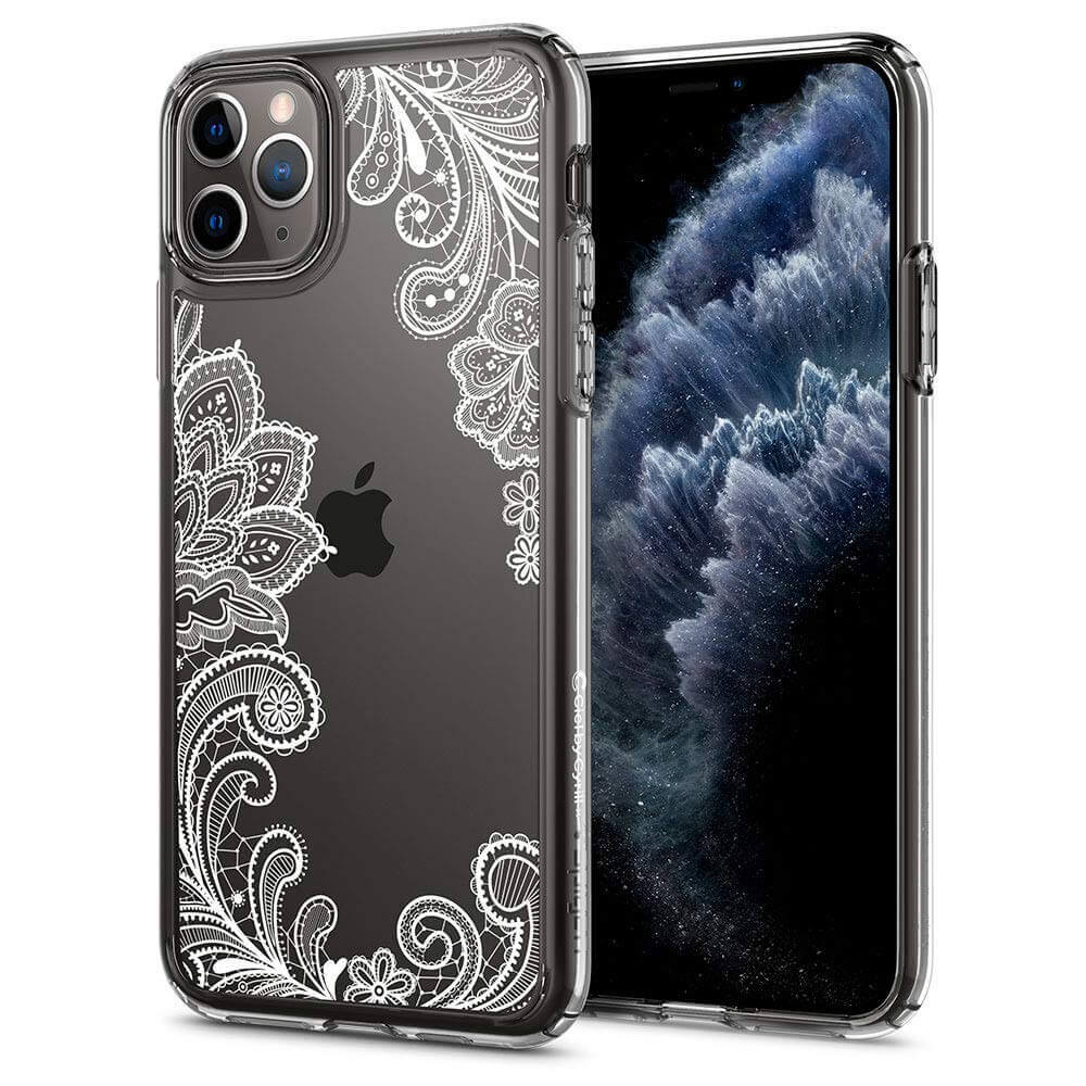 Spigen Ciel White Mandala Case — дизайнерски удароустойчив кейс за iPhone 11 Pro Max (прозрачен) - 1