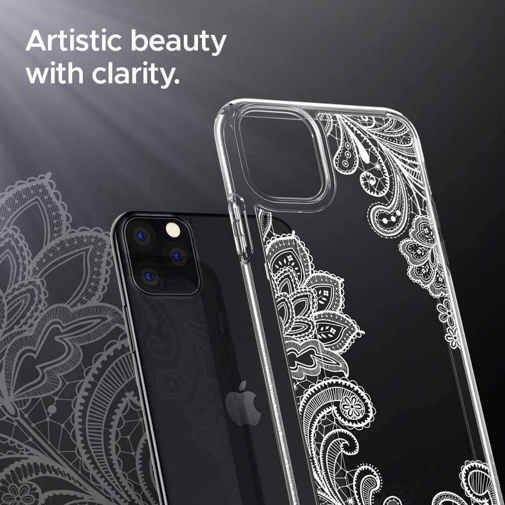 Spigen Ciel White Mandala Case — дизайнерски удароустойчив кейс за iPhone 11 Pro Max (прозрачен) - 4