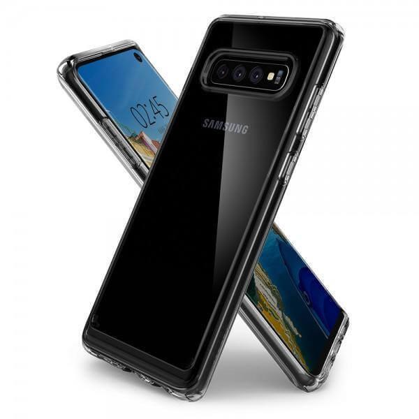 Spigen Crystal Hybrid Case — хибриден кейс с висока степен на защита за Samsung Galaxy S10 (прозрачен) - 3