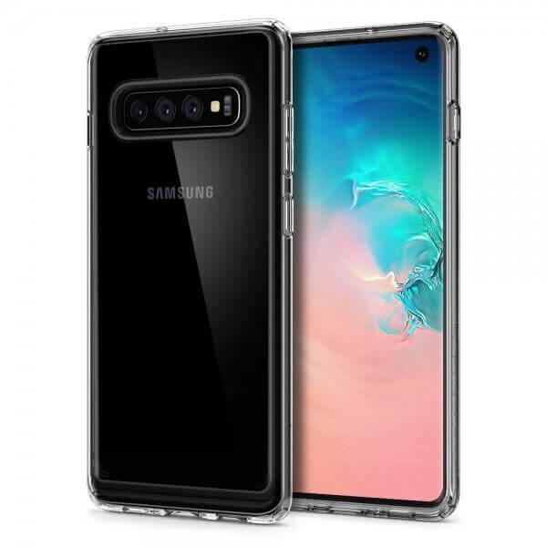 Spigen Crystal Hybrid Case — хибриден кейс с висока степен на защита за Samsung Galaxy S10 (прозрачен) - 1