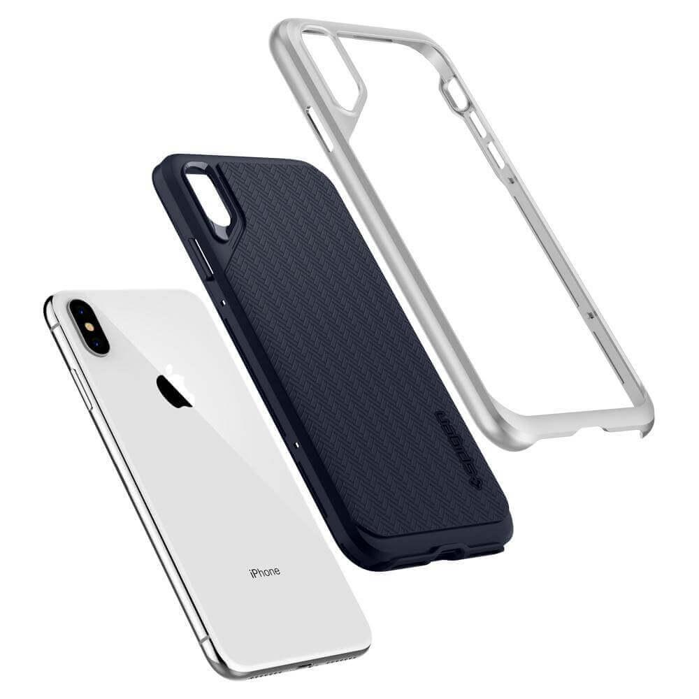 Spigen Neo Hybrid Case — хибриден кейс с висока степен на защита за iPhone XS Max (сребрист)  - 4