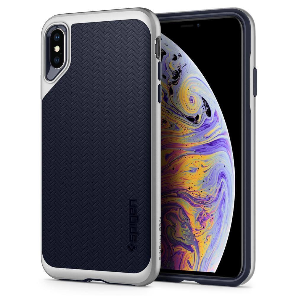 Spigen Neo Hybrid Case — хибриден кейс с висока степен на защита за iPhone XS Max (сребрист)  - 1