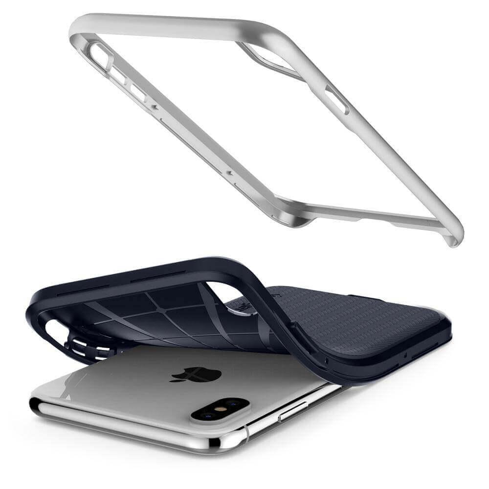 Spigen Neo Hybrid Case — хибриден кейс с висока степен на защита за iPhone XS Max (сребрист)  - 3