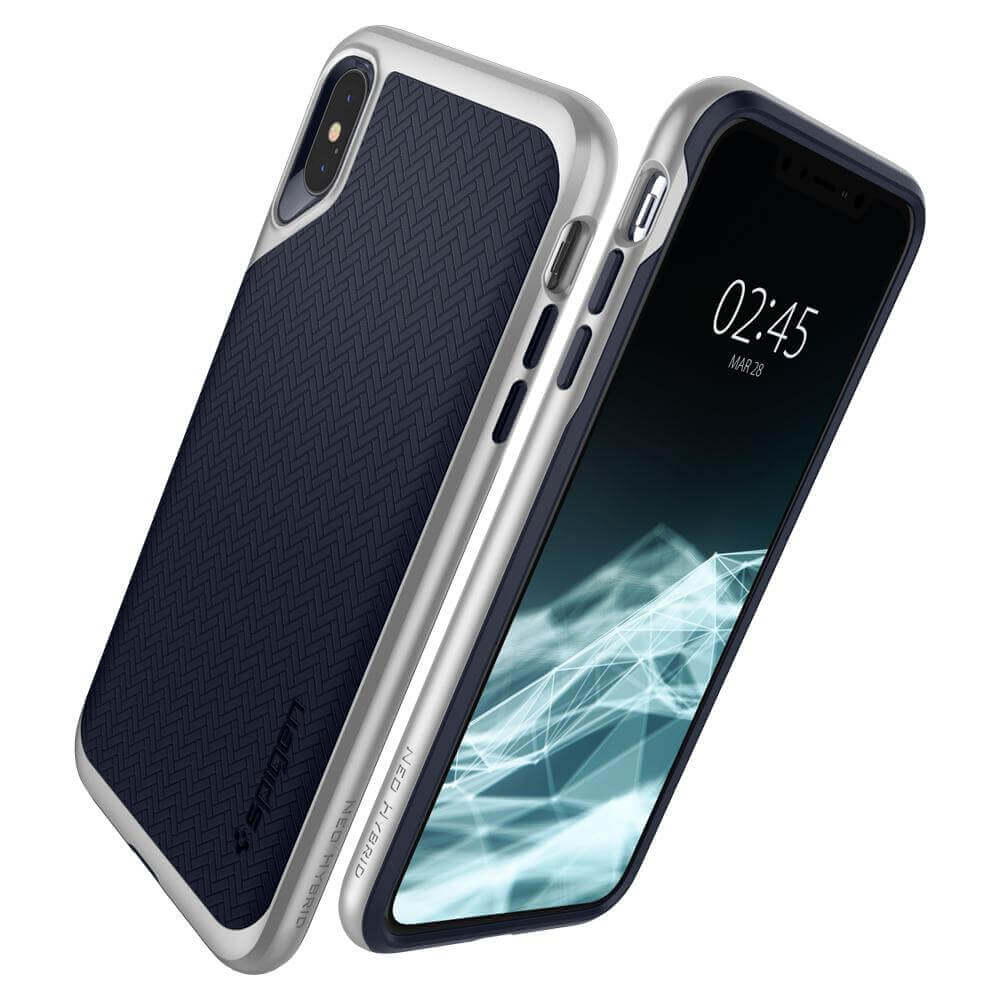 Spigen Neo Hybrid Case — хибриден кейс с висока степен на защита за iPhone XS Max (сребрист)  - 5