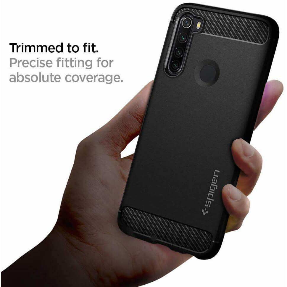 Spigen Rugged Armor Case — тънък качествен силиконов (TPU) калъф за Xiaomi RedMi Note 8 (черен) - 3