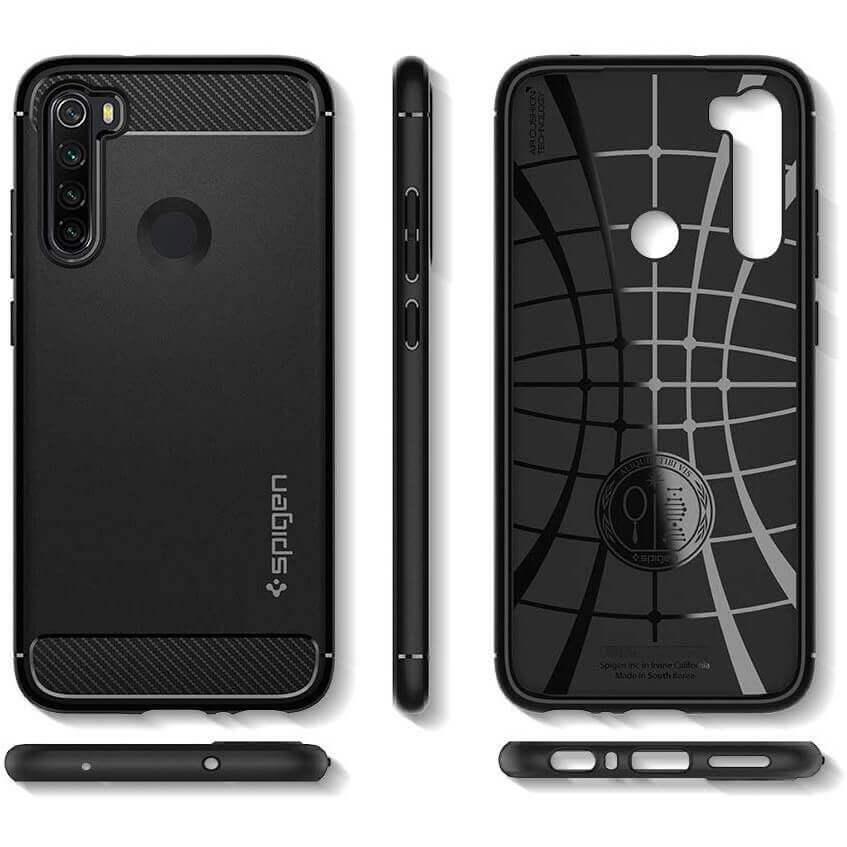 Spigen Rugged Armor Case — тънък качествен силиконов (TPU) калъф за Xiaomi RedMi Note 8 (черен) - 2