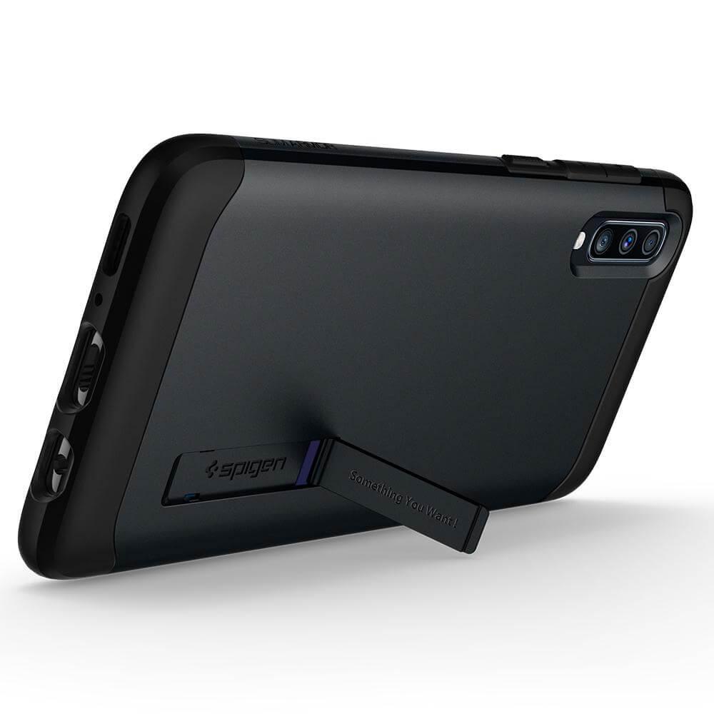 Spigen Slim Armor Case — хибриден кейс с най-висока степен на защита за Samsung Galaxy A70 (тъмносив) - 3
