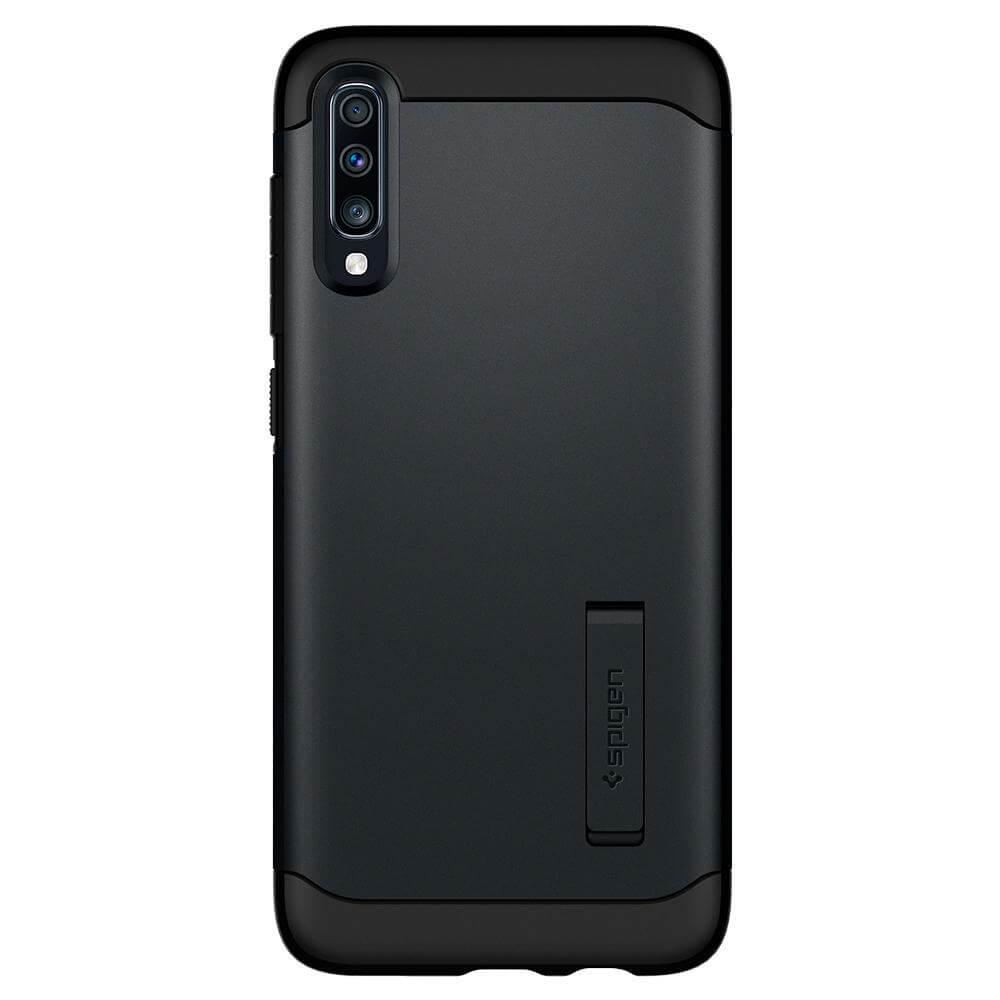 Spigen Slim Armor Case — хибриден кейс с най-висока степен на защита за Samsung Galaxy A70 (тъмносив) - 1