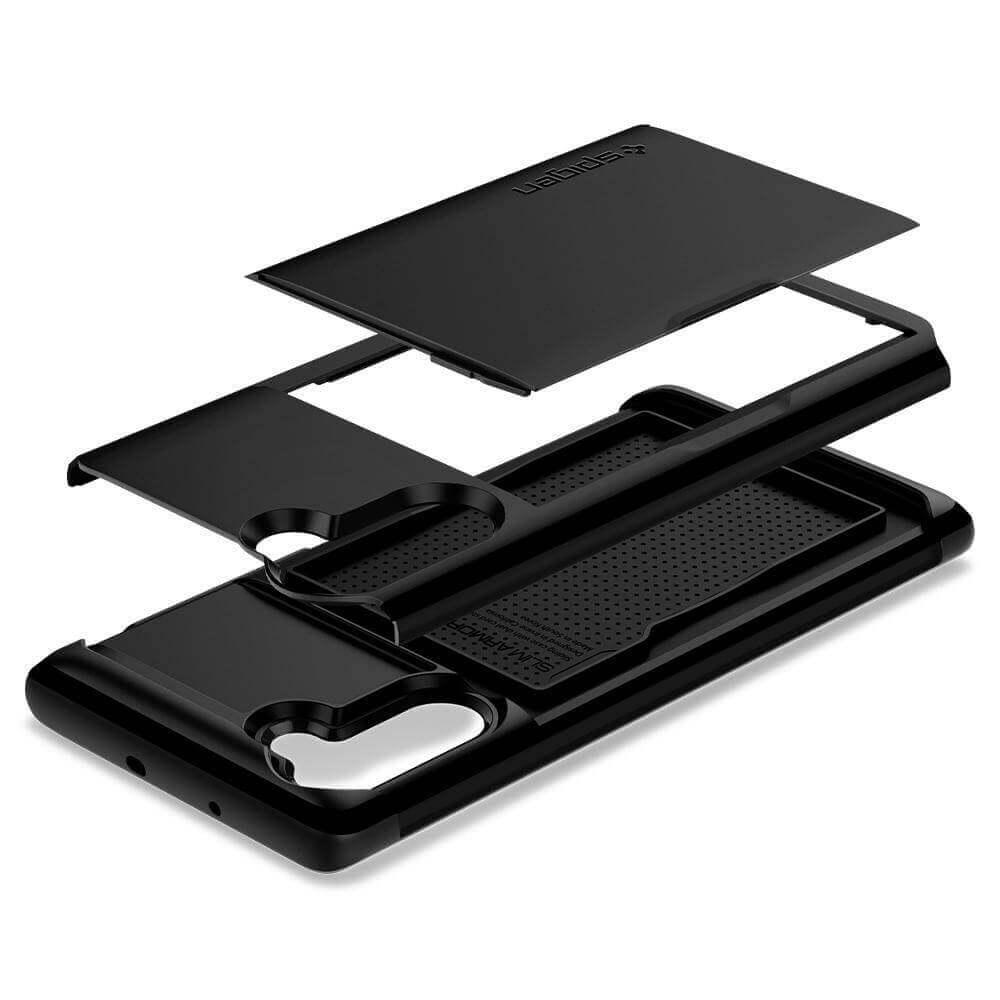 Spigen Slim Armor CS Case — хибриден кейс с отделение за кр. карти и най-висока степен на защита за Samsung Galaxy Note 10 (черен) - 3