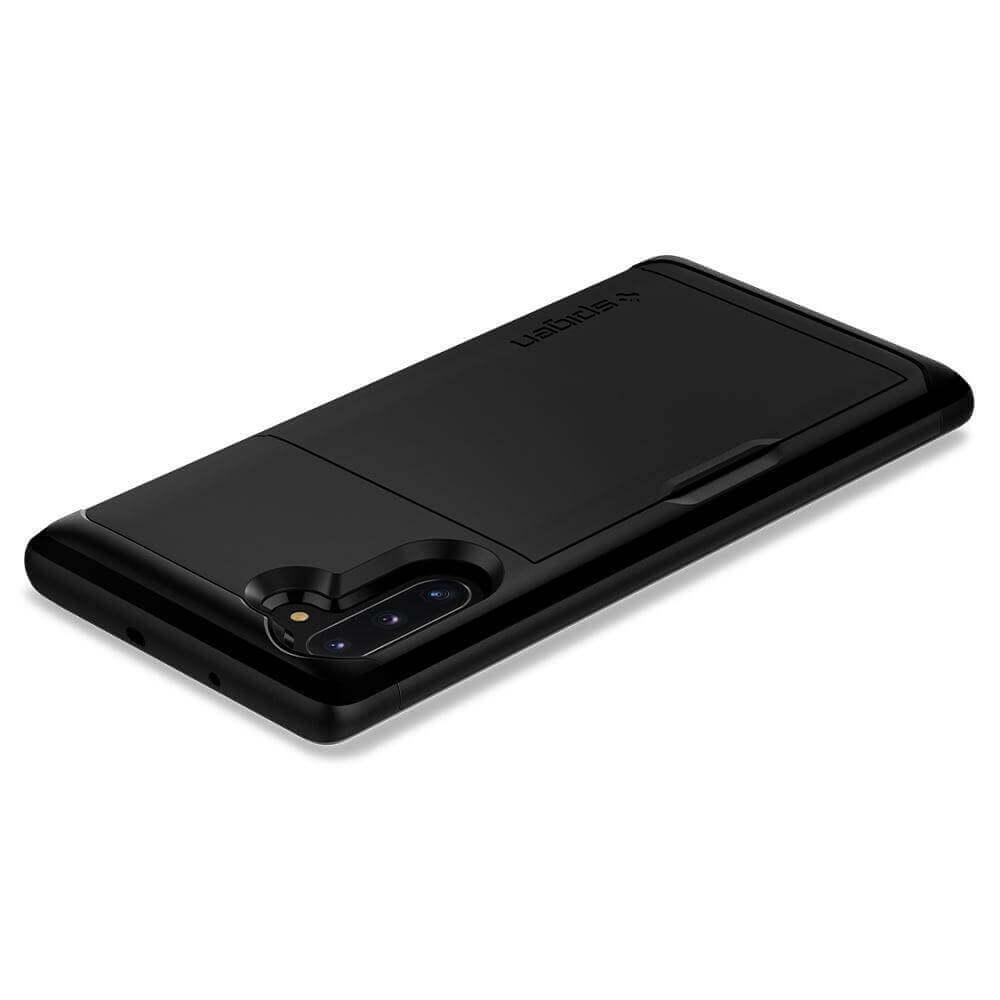 Spigen Slim Armor CS Case — хибриден кейс с отделение за кр. карти и най-висока степен на защита за Samsung Galaxy Note 10 (черен) - 2