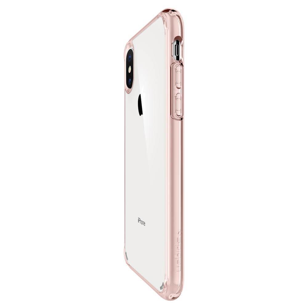 Spigen Ultra Hybrid Case — хибриден кейс с висока степен на защита за iPhone XS Max (розов-прозрачен) - 5