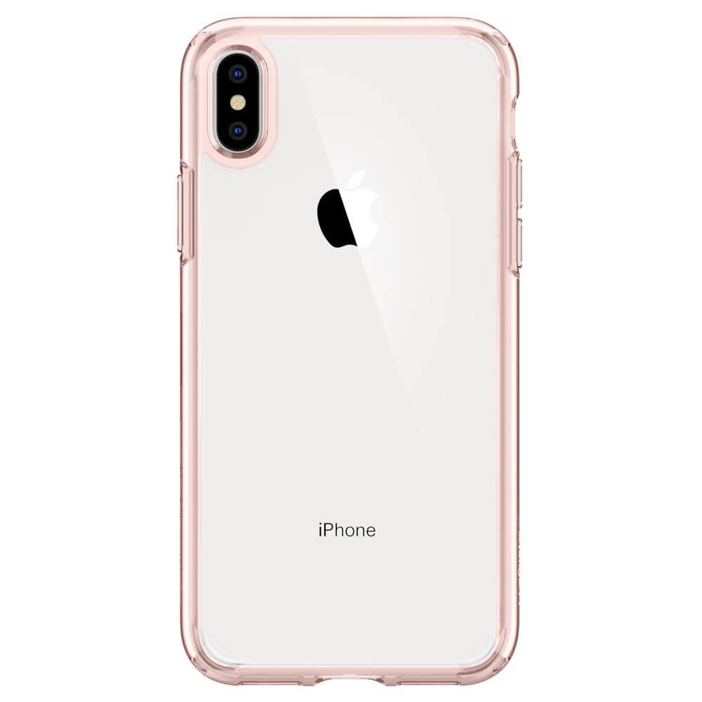 Spigen Ultra Hybrid Case — хибриден кейс с висока степен на защита за iPhone XS Max (розов-прозрачен) - 2