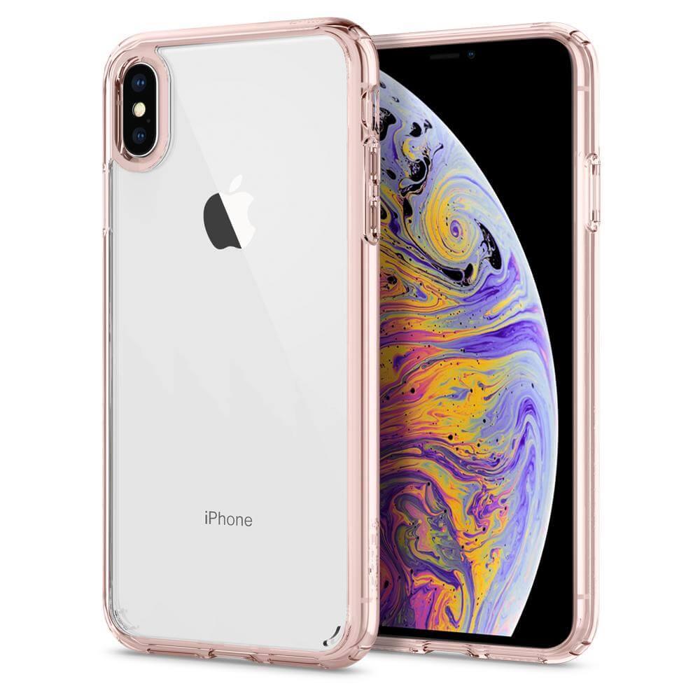 Spigen Ultra Hybrid Case — хибриден кейс с висока степен на защита за iPhone XS Max (розов-прозрачен) - 1