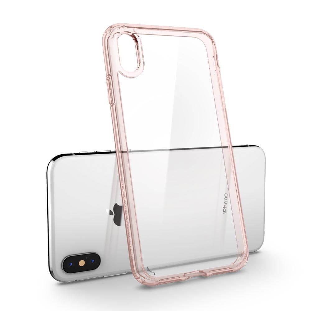 Spigen Ultra Hybrid Case — хибриден кейс с висока степен на защита за iPhone XS Max (розов-прозрачен) - 4