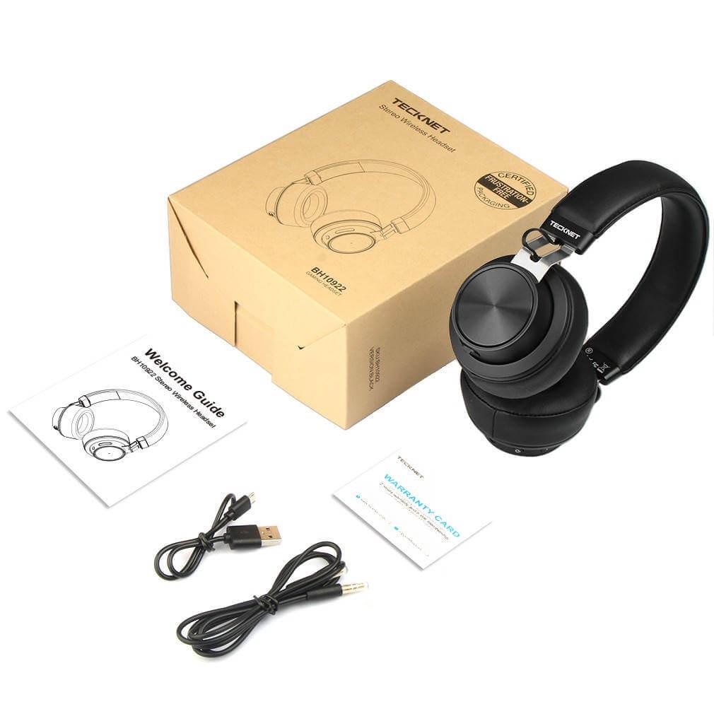 TeckNet BH10922 Bluetooth Headphones — безжични блутут слушалки с микрофон за мобилни устройства (черен) - 3