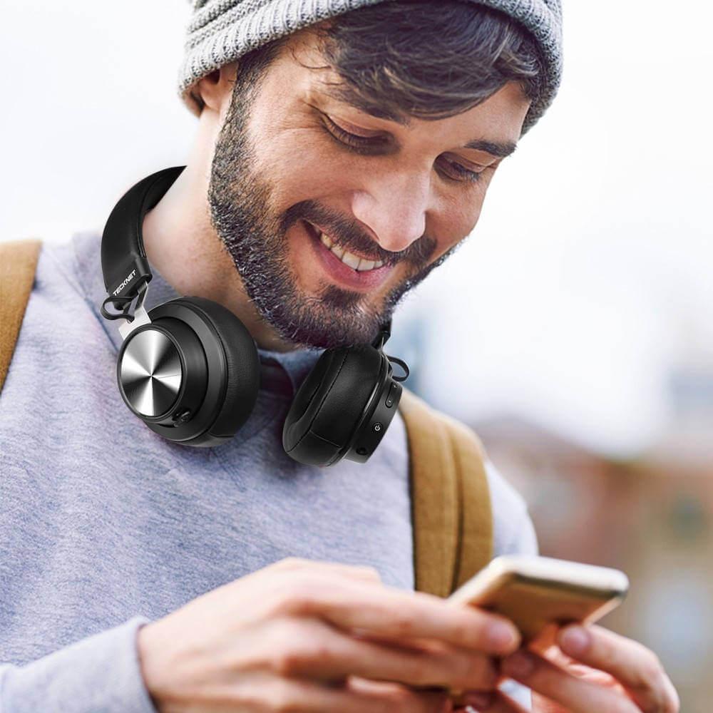TeckNet BH10922 Bluetooth Headphones — безжични блутут слушалки с микрофон за мобилни устройства (черен) - 2