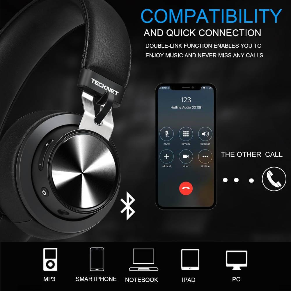 TeckNet BH10922 Bluetooth Headphones — безжични блутут слушалки с микрофон за мобилни устройства (черен) - 4