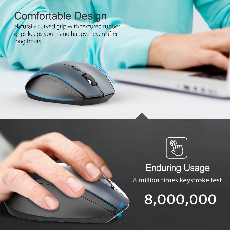 TeckNet M002 Black 2.4G Wireless Mouse — ергономична безжична мишка (за Mac и PC) - 4