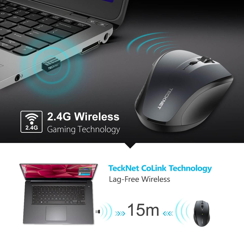 TeckNet M002 Black 2.4G Wireless Mouse — ергономична безжична мишка (за Mac и PC) - 5